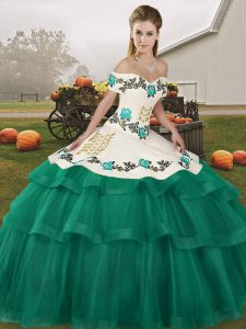 Fancy Sleeveless Brush Train Lace Up Embroidery and Ruffled Layers Vestidos de Quinceanera