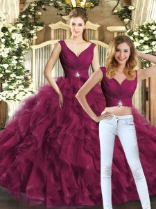 Best Floor Length Burgundy Sweet 16 Quinceanera Dress V-neck Sleeveless Backless