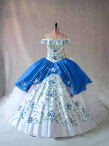 Popular Blue And White Off The Shoulder Lace Up Embroidery and Ruffles 15 Quinceanera Dress Sleeveless