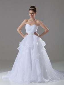 Custom Design White A-line Beading and Ruffles Wedding Gown Lace Up Organza Sleeveless
