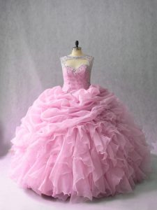 Sleeveless Brush Train Beading and Ruffles Lace Up Quinceanera Dresses