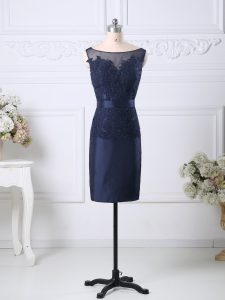 Navy Blue Zipper Homecoming Dress Beading and Lace Sleeveless Knee Length