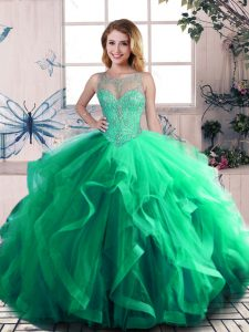 Green Quinceanera Dress Sweet 16 and Quinceanera with Beading and Ruffles Scoop Sleeveless Lace Up
