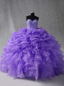 Lavender Sleeveless Organza Lace Up Sweet 16 Dresses for Sweet 16 and Quinceanera