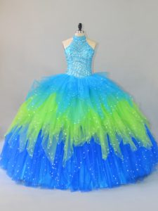 Multi-color Tulle Lace Up Quinceanera Gown Sleeveless Floor Length Beading and Ruffles