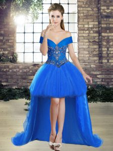 Custom Made Sleeveless Beading Lace Up Prom Gown