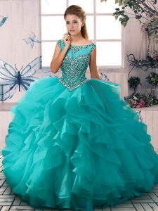 Aqua Blue Zipper Scoop Beading and Ruffles Sweet 16 Dress Organza Sleeveless