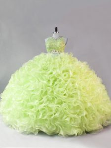 Discount Yellow Green Sleeveless Beading and Ruffles Floor Length Quinceanera Dress