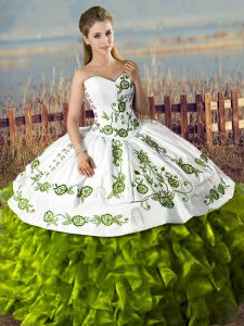 Olive Green Lace Up Sweetheart Embroidery and Ruffles 15th Birthday Dress Satin and Organza Sleeveless