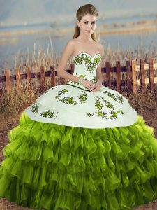Custom Designed Sleeveless Lace Up Floor Length Embroidery and Ruffled Layers and Bowknot Quinceanera Dresses