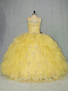 Organza Sweetheart Sleeveless Lace Up Appliques and Ruffles Quinceanera Gowns in Yellow