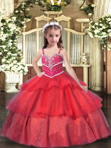 Sleeveless Beading and Ruffled Layers Lace Up Pageant Dress for Womens