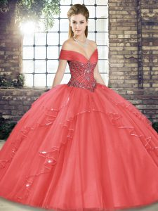 Fantastic Watermelon Red Tulle Lace Up Sweet 16 Dress Sleeveless Floor Length Beading and Ruffles