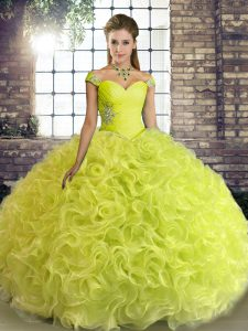 Yellow Green Vestidos de Quinceanera Military Ball and Sweet 16 and Quinceanera with Beading Off The Shoulder Sleeveless Lace Up