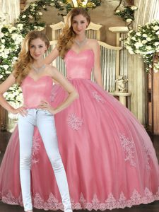 High Quality Floor Length Watermelon Red Quinceanera Dress Sweetheart Sleeveless Lace Up