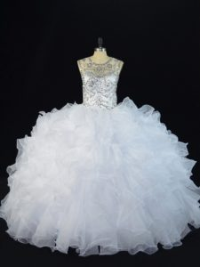 Floor Length White Quinceanera Gown Scoop Sleeveless Lace Up