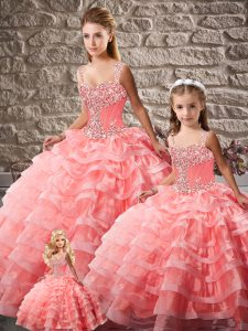 Edgy Watermelon Red Quinceanera Dress Sweet 16 and Quinceanera with Beading and Ruffled Layers Straps Sleeveless Court Train Lace Up