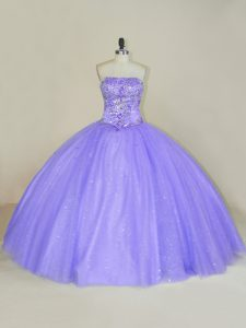 Floor Length Lavender Quinceanera Dresses Strapless Sleeveless Lace Up