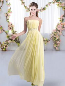 Suitable Yellow Strapless Lace Up Beading Bridesmaid Dresses Sweep Train Sleeveless