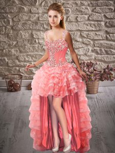 Admirable Watermelon Red Sleeveless Beading and Ruffled Layers High Low Dress for Prom