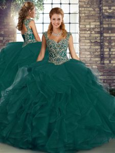 Hot Selling Peacock Green Lace Up Straps Beading and Ruffles 15 Quinceanera Dress Tulle Sleeveless