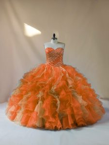 Fabulous Multi-color Ball Gowns Sweetheart Sleeveless Organza Floor Length Lace Up Beading and Ruffles Sweet 16 Quinceanera Dress