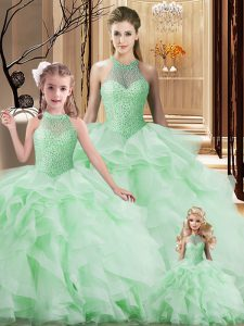 Sexy Apple Green Sleeveless Organza Brush Train Lace Up Quinceanera Dress for Sweet 16 and Quinceanera