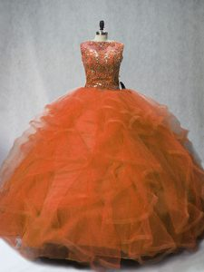 Trendy Rust Red Sleeveless Tulle Brush Train Lace Up Sweet 16 Dress for Sweet 16 and Quinceanera
