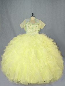 Spectacular Yellow Ball Gowns Beading and Ruffles Vestidos de Quinceanera Lace Up Organza Sleeveless Floor Length