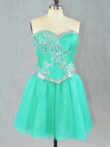 Turquoise Sleeveless Tulle Lace Up for Prom and Party