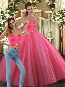 Coral Red Sweetheart Lace Up Beading Quinceanera Gown Sleeveless