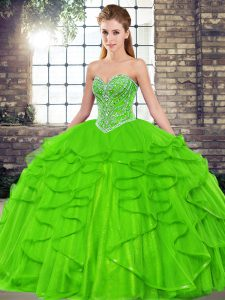 Ball Gowns Tulle Sweetheart Sleeveless Beading and Ruffles Floor Length Lace Up Sweet 16 Quinceanera Dress