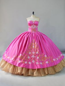 Embroidery Quinceanera Dress Rose Pink Lace Up Sleeveless Floor Length