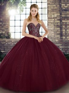 Burgundy Tulle Lace Up Sweetheart Sleeveless Floor Length Vestidos de Quinceanera Beading