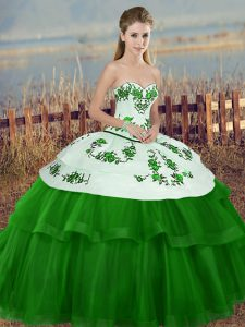 Clearance Embroidery and Bowknot Ball Gown Prom Dress Green Lace Up Sleeveless Floor Length