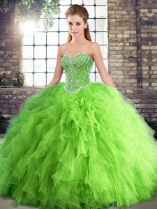 Sweetheart Lace Up Beading and Ruffles Quinceanera Dresses Sleeveless
