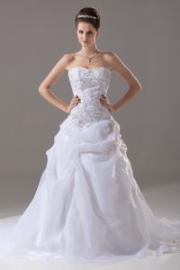 White Wedding Gowns Organza Brush Train Sleeveless Embroidery