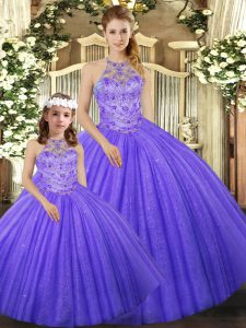 Lavender Tulle Lace Up Quince Ball Gowns Sleeveless Floor Length Beading