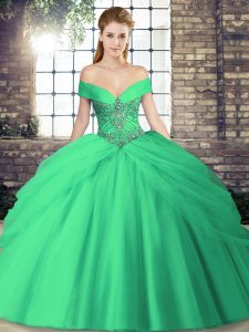 Chic Tulle Off The Shoulder Sleeveless Brush Train Lace Up Beading and Pick Ups Sweet 16 Quinceanera Dress in Turquoise