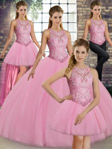Pink Scoop Neckline Embroidery Quinceanera Gown Sleeveless Lace Up