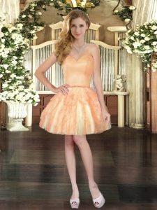Customized Ruffles Prom Gown Orange Lace Up Sleeveless Mini Length