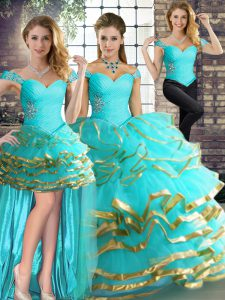 Floor Length Aqua Blue Quinceanera Gowns Tulle Sleeveless Beading and Ruffled Layers