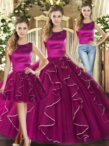 Fantastic Tulle Scoop Sleeveless Lace Up Ruffles Quince Ball Gowns in Fuchsia