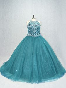 Sleeveless Brush Train Lace Up Beading Quinceanera Gown