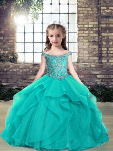 Teal Evening Gowns Military Ball and Wedding Party with Beading Off The Shoulder Sleeveless Lace Up