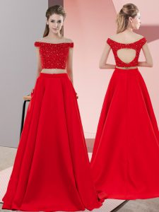 Adorable Red Prom Dresses Prom and Party with Beading Off The Shoulder Sleeveless Sweep Train Backless