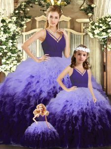 Multi-color V-neck Backless Ruffles and Ruching Sweet 16 Quinceanera Dress Sleeveless