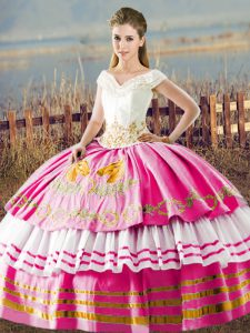 Hot Pink Lace Up V-neck Embroidery and Ruffled Layers 15 Quinceanera Dress Satin Sleeveless