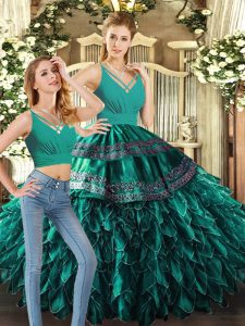 Simple Sleeveless Organza Floor Length Backless Sweet 16 Dresses in Turquoise with Appliques and Ruffles