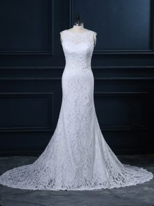 Stylish Sleeveless Lace Brush Train Backless Wedding Gown in White with Lace